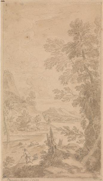 ADRIAEN VAN DER CABEL (Rijswijk 1631-1705 Lyon) A River Landscape with a Fisherman and Dog.