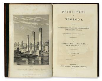 LYELL, CHARLES. Principles of Geology.  3 vols.  1830-32-33