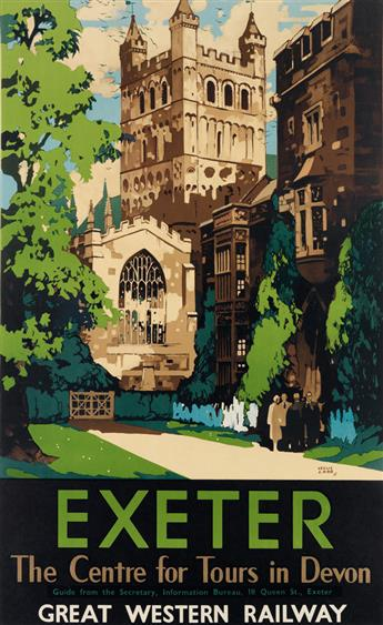 LESLIE CARR (1891-1961). EXETER / GREAT WESTERN RAILWAY. 1931. 39x24 inches, 100x62 cm. McCorquodale & Co. Ltd., London.