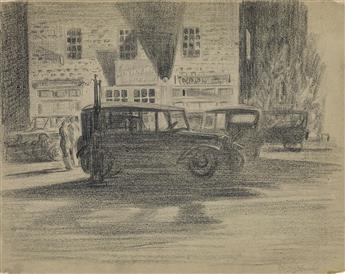 MARTIN LEWIS Shadows, Garage at Night.