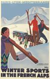 ROGER BRODERS (1883-1953). WINTER SPORTS IN THE FRENCH ALPS. Circa 1929. 40x25 inches, 101x64 cm. Lucien Serre, Paris.