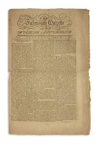 (MAINE.) A very early issue of the Falmouth Gazette and Weekly Advertiser, Maines first newspaper.
