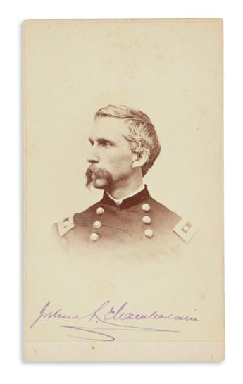 JOSHUA LAWRENCE CHAMBERLAIN. Photograph Signed, JoshuaL. Chamberlain, in purple ink, carte-de-visite bust port...