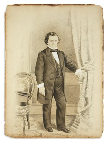 (PRESIDENTS--1860 CAMPAIGN.) Period drawing of Stephen Douglas.