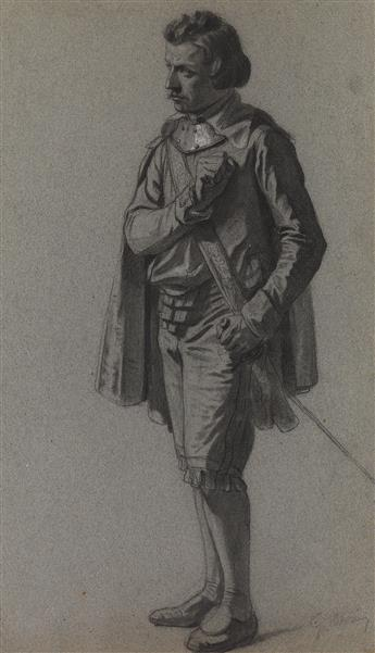 GUSTAVE MORIN (Rouen 1809-1886 Rouen) A Study of a Standing Cavalier.