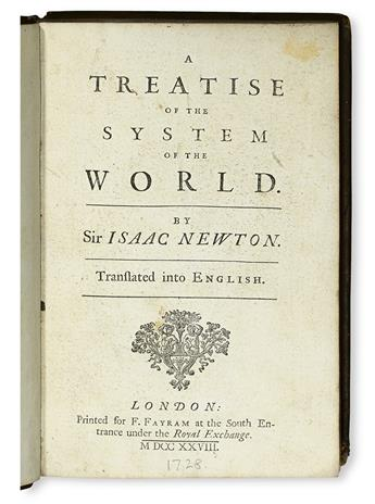 NEWTON, ISAAC, Sir. A Treatise on the System of the World.  1728