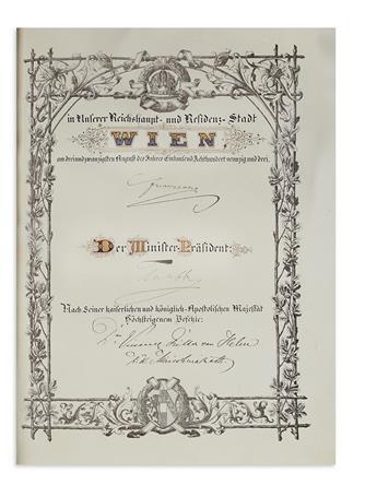 FRANZ JOSEPH I; EMPEROR OF AUSTRIA. Partly-printed vellum Document Signed, Franzjosef, as Emperor, patent of nobility for Herman Grau