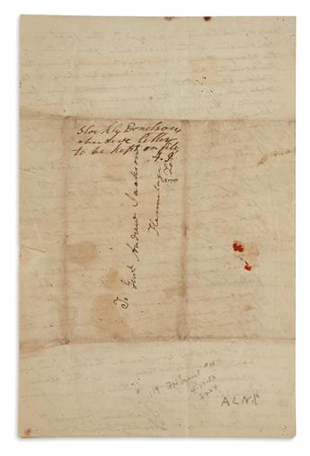 ANDREW JACKSON. Autograph Endorsement Signed, A.J., written vertically over the address panel of his brother-in-laws...