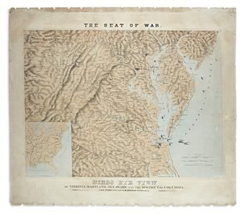 (CIVIL WAR.) Schedler, Joseph. The Seat of War. Birds Eye View of Virginia, Maryland, Delaware and the District of Columbia.