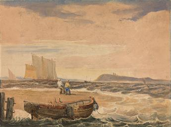 SAMUEL PROUT (Plymouth 1783-1852 Camberwell) Fisherman on A Shoreline Hauling in Nets.