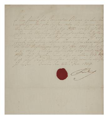 FRIEDRICH II; KING OF PRUSSIA. Letter Signed, Friedrich, as Crown Prince, to an unnamed recipient (lacking salutation), in German,