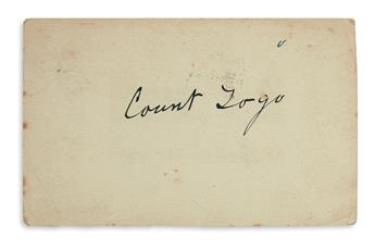 TOGO HEIHACHIRO. Signature, Count Togo, on a postcard, to James Kirkwood of Paisley, Scotland. 3x5 inches; fai...