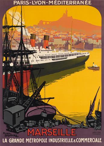 ROGER BRODERS (1883-1953). MARSEILLE / LA GRANDE MÉTROPOLE INDUSTRIELLE & COMMERCIALE. 1922. 42x30 inches, 107x77 cm. Cornille & Serre,