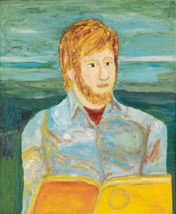 BEAUFORD DELANEY (1901 - 1979) Portrait of a Bearded Young Man Reading.