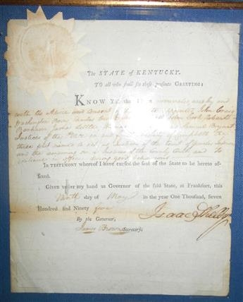 SHELBY, ISAAC. Partly-printed Document Signed, as Governor, appointing 9 Justices of the Peace for Campbell County.