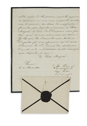 FERDINAND I; EMPEROR OF AUSTRIA. Letter Signed and Inscribed, le bon Frère et / très affectionné / beau Frère / Ferdinand, as Emperor