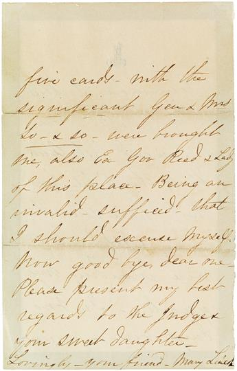 I FANCIED . . . THE REBEL HORDE . . . WERE INVADING MY QUARTERS MARY TODD LINCOLN. Autograph Letter Signed,...