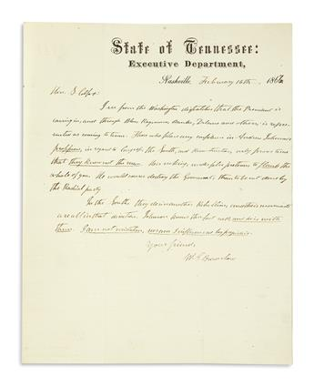 (PRESIDENTS--1867.) Brownlow, William G. Letter by the Governor of Tennessee denouncing President Johnson as a secret secessionist.