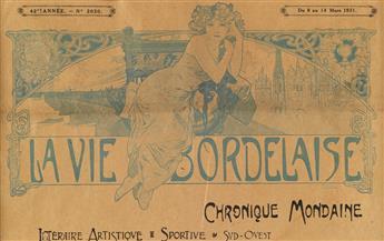 ALPHONSE MUCHA (1860-1939). LA VIE BORDELAISE. Illustrated newspaper banner. 1931. 7x11 inches, 19x29 cm.