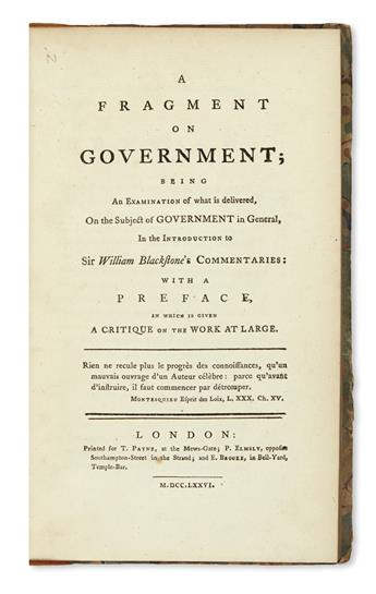 BENTHAM, JEREMY.  A Fragment on Government.  1776