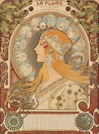 ALPHONSE MUCHA (1860-1939). [ZODIAC] / LA PLUME. 1896. 25x18 inches, 63x46 cm. F. Champenois, Paris.