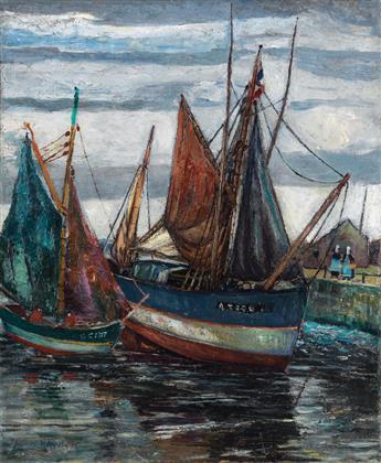 PALMER HAYDEN (1890 - 1973) Le Thonier à Basse Marée Concarneau.