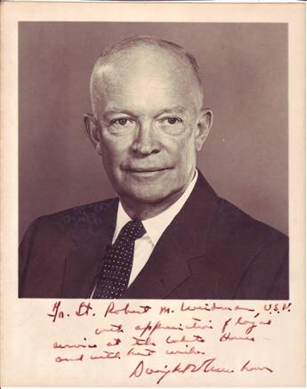 EISENHOWER, DWIGHT D. AND MAMIE. Two Photographs Signed and Inscribed, each by one, to Robert M. Weidman, Jr.