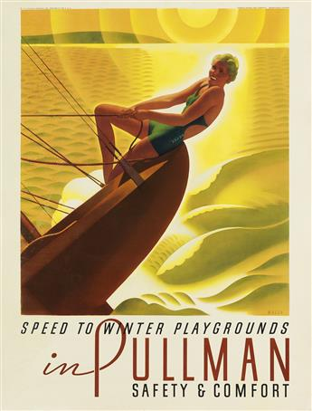 WILLIAM P. WELSH (1889-1984). SPEED TO WINTER PLAYGROUNDS IN PULLMAN. 1935. 27x20 inches, 68x51 cm. Charles Daniel Frey Company, Chicag