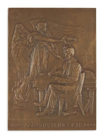 (SCULPTURE.) Roiné, Jules Édouard; artist. 1809 Abraham Lincoln 1909.