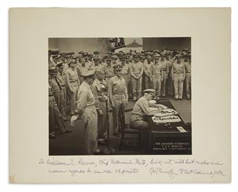 FAMOUS IMAGE OF JAPANESE SURRENDER (WORLD WAR II.) CHESTER W. NIMITZ. Photograph Signed and Inscribed, b...