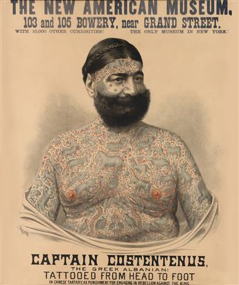 DESIGNER UNKNOWN. CAPTAIN COSTENTENUS. 1876. 25x21 inches, 64x54 cm. H.A. Thomas & Co. Litho, New York.