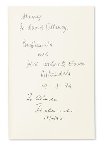 MANDELA, NELSON. David Ottaway. Chained Together. Signed and Inscribed by Mandela, on the front free endpaper: