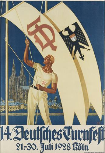 G.D. & F.S. (DATES UNKNOWN). 14. DEUTSCHES TURNFEST. 1928. 34x23 inches, 87x59 cm. Kolner-Gorres-Haus, Cologne.