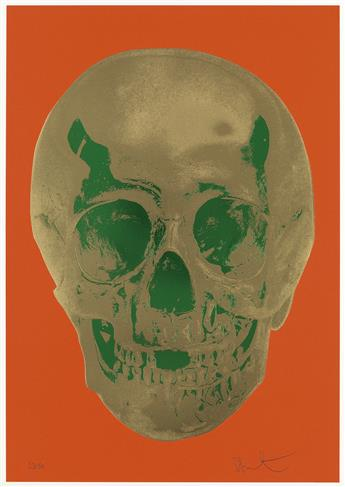 DAMIEN HIRST Till Death Do Us Part--Time Bright Orange African Gold Emerald Green Pop Up Skull.