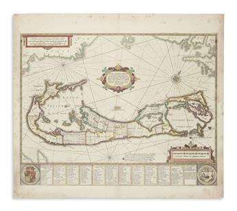 (BERMUDA.) Hondius, Henricus. Mappa Aestivarum Insularum alias Barmudas.