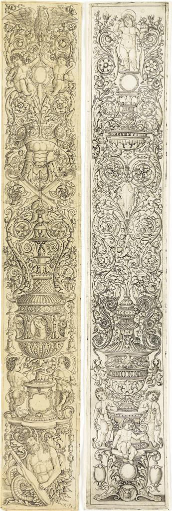 GIOVANNI ANTONIO DA BRESCIA, CALLED ZOAN ANDREA (after Giovanni Pietro da Birago) Two ornamental panel engravings