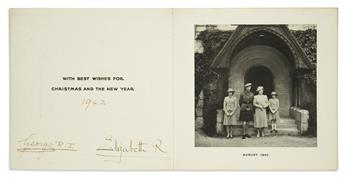 GEORGE VI; AND ELIZABETH; KING AND QUEEN OF THE UK. Christmas card Signed by both, George R.I. and Elizabeth R,