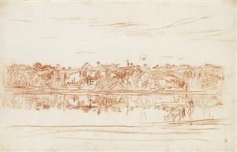 CHARLES-FRANÇOIS DAUBIGNY Paysage au bord de l'étang.