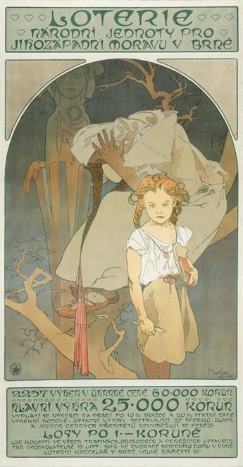 ALPHONSE MUCHA (1860-1939). LOTERIE / NARODNI JEDNOTY PRO JIHOZÁPADNI MORAVU V BRNÉ. 1912. 73x38 inches, 185x98 cm. V. Neubert, Smichov