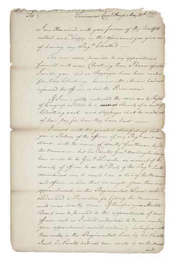(AMERICAN REVOLUTION--1777.) Brodhead, Daniel. Letter discussing his regiments lack of clothing and officers.