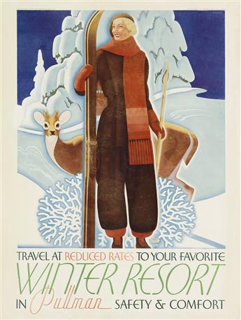 WILLIAM P. WELSH (1889-1984). TRAVEL AT REDUCED RATES TO YOUR FAVORITE WINTER RESORT IN PULLMAN. 1934. 26x20 inches, 67x51 cm. Charles