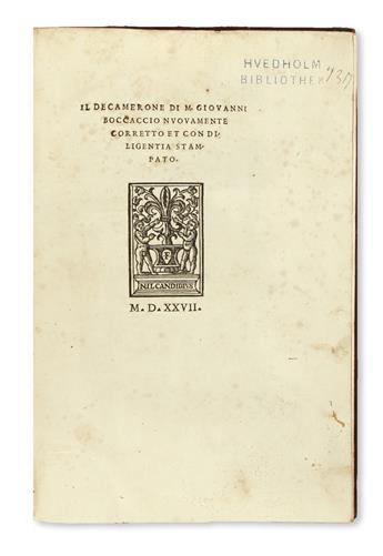 BOCCACCIO, GIOVANNI. Il Decamerone . . . nuovamente corretto et con diligentia stampato.  1527 [i. e., 1729]