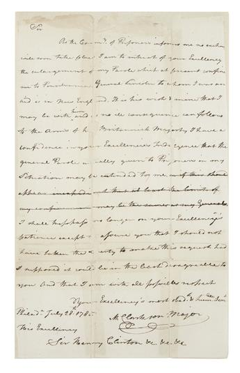 (AMERICAN REVOLUTION--1780.) Clarkson, Matthew. Letter appealing for a change in the terms of his parole.