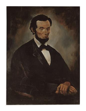 (PAINTINGS.) Large primitive portrait of Lincoln.