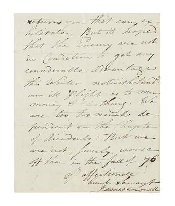 (AMERICAN REVOLUTION--1779.) Lovell, James. A member of the Continental Congress reflects on the progress of the Revolution.