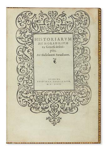 (BIBLE ILLUSTRATIONS.) Paradin. Historiarum memoriabilium ex Genesi descriptio. 1558 + Borluyt. Historiarum memorabilium ex Exodo. 1558