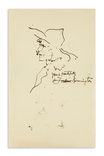 REMINGTON, FREDERIC. Ink drawing, Signed and Inscribed, Yours faithfully, sketch of a mustachioed man in profile wearing a hat.