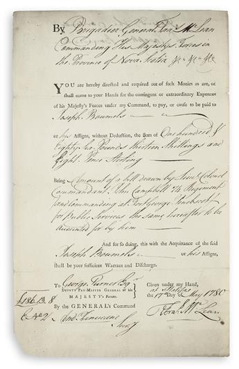 (AMERICAN REVOLUTION--1780.) McLean, Francis. The British commander of Fort George in Maine orders a payment.