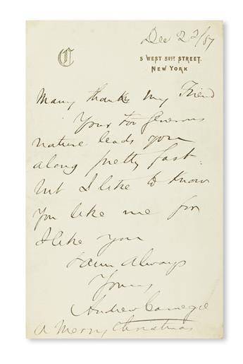 (BUSINESS.) CARNEGIE, ANDREW. Autograph Letter Signed, to an unnamed recipient (my Friend):