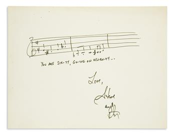 SONDHEIM, STEPHEN. Autograph Musical Quotation Signed, Steve, two bars from Sixteen Going on Seventeen